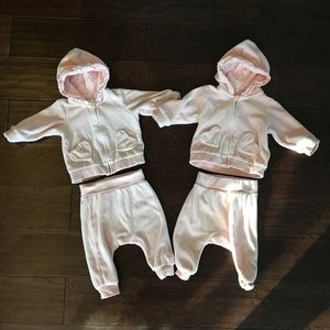 Velour tracksuits for twin girls